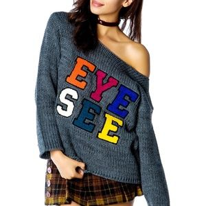 INSIGHT Eye See Crew Sweater Off Shoulder 8